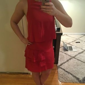 Tibi Layered Tank Dress in Red - New Condition